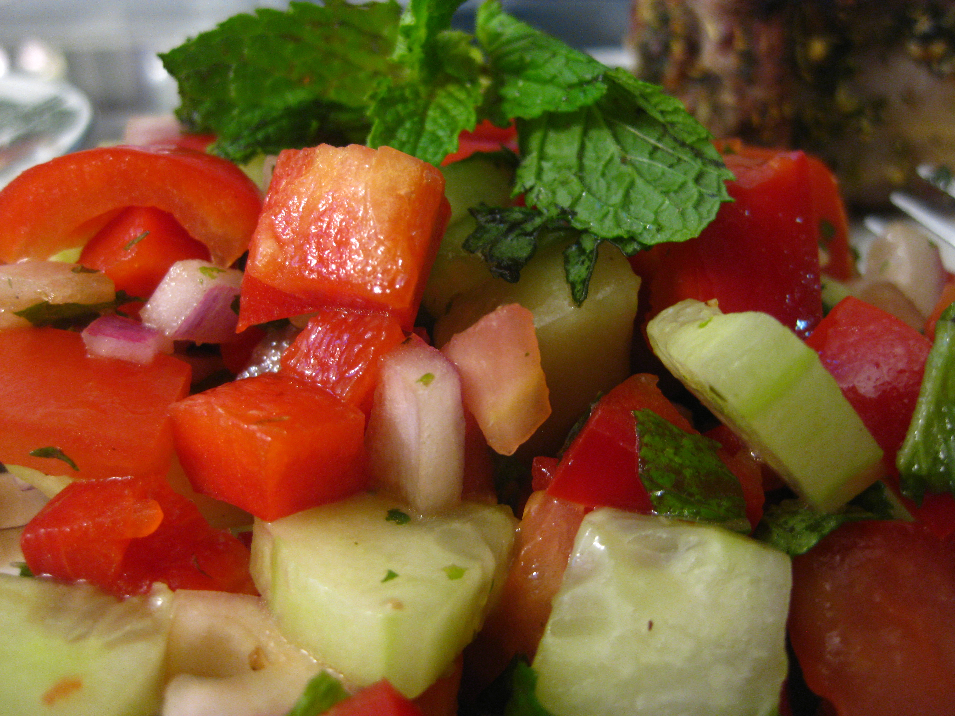 Quick Onion, Tomato And Cucumber Relish (Kachoomar) Recipe ...