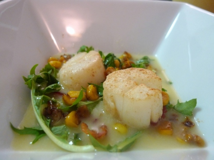 Seared Scallops with Corn Velouté