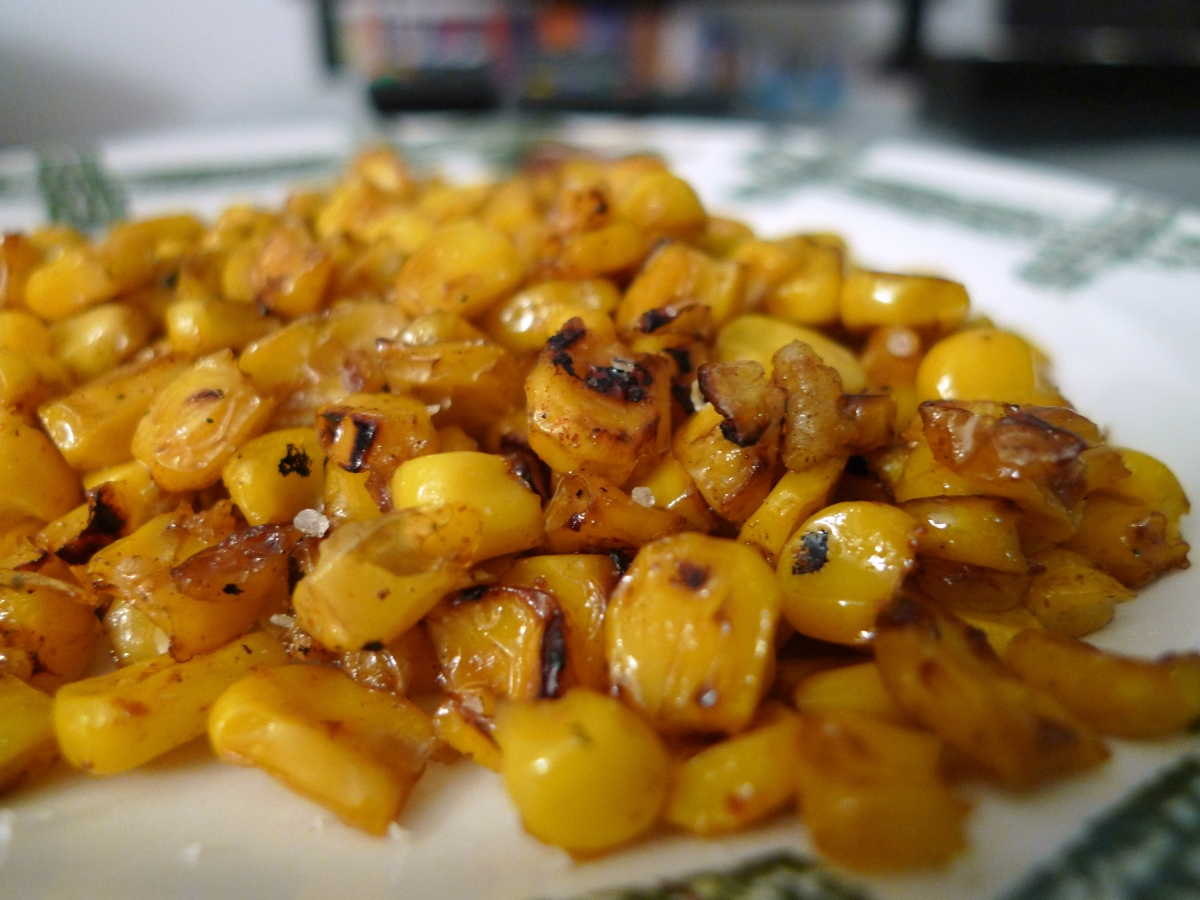 Roasted Corn Kernels with Garlic Butter