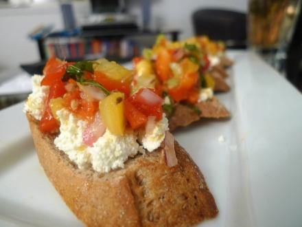 Harissa salsa and ricotta bruschetta