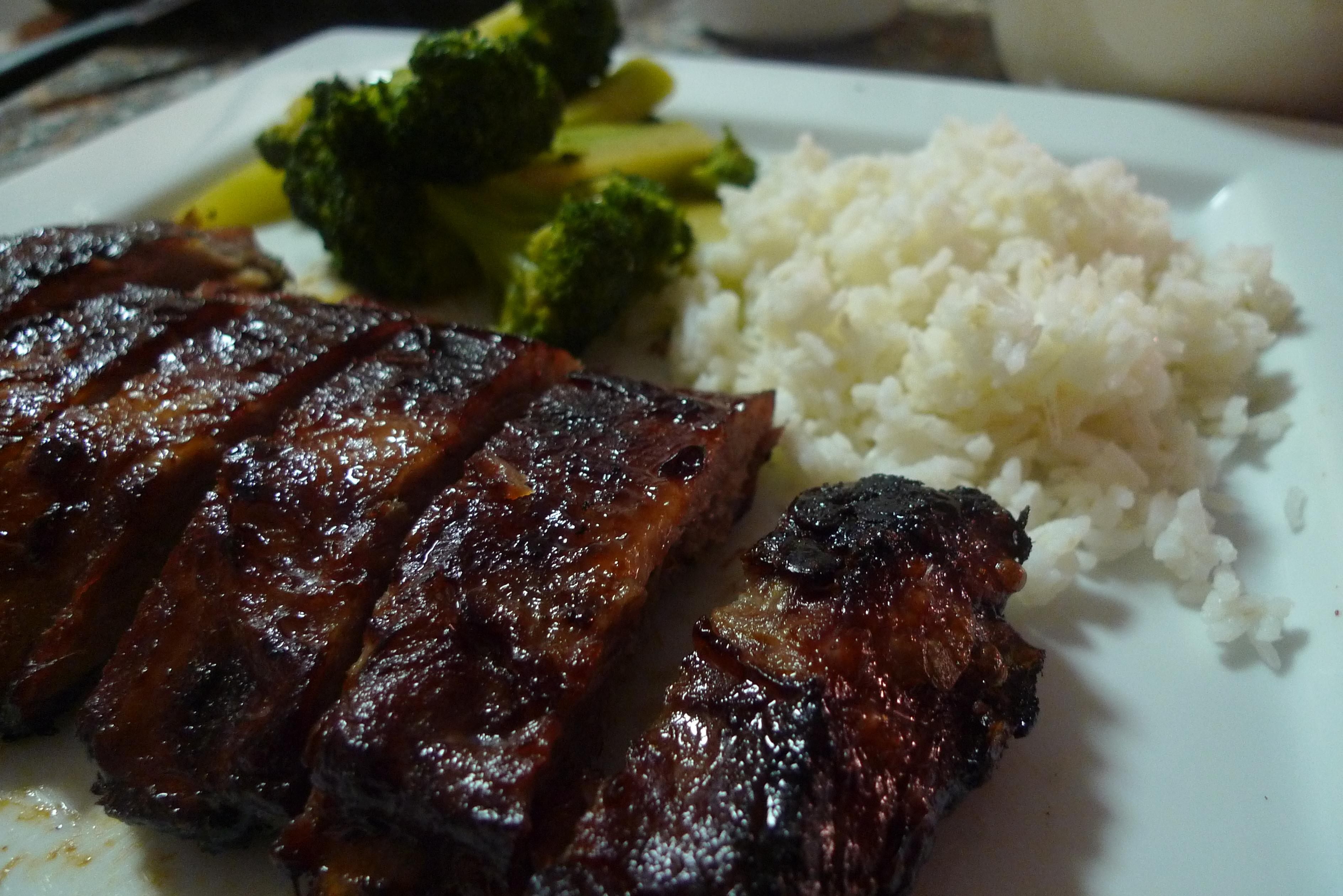 char siu baby back ribs with broccoli and rice