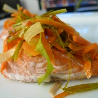 Salmon with Caramelized Leeks and Carrots