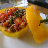Baked Peppers Stuffed with Ground Beef, Wild Rice & Goat Cheese