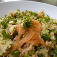 Pasta with Smoked Salmon & Peas in a Dill Cream Sauce