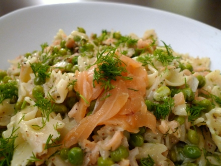 Farfalle Pasta with Smoked Salmon and Peas in a Dill Cream Sauce
