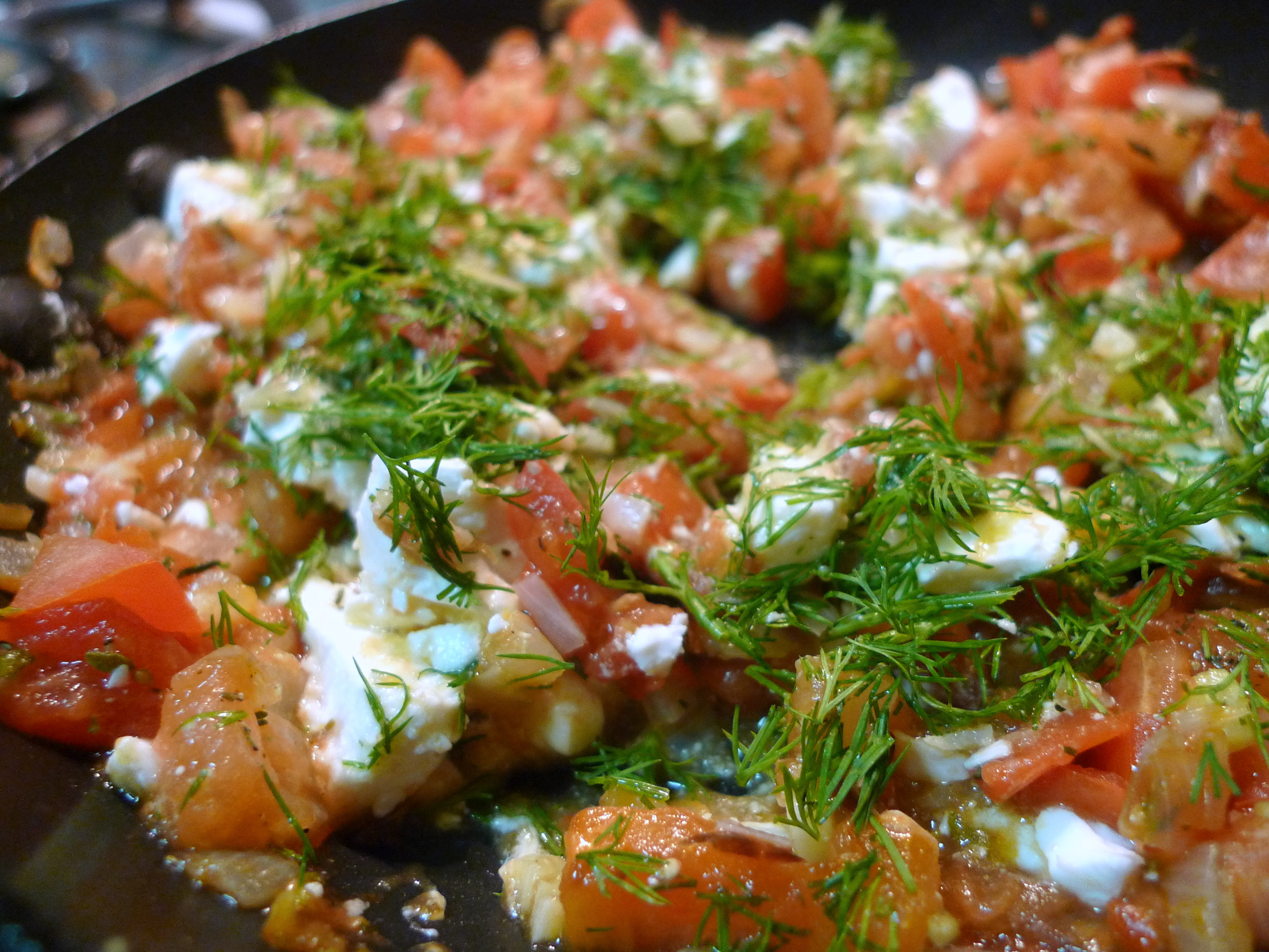 from heat and mix in the fresh herbs and feta