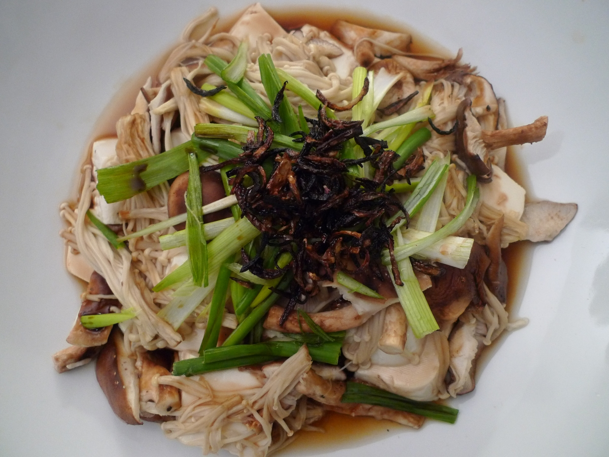Steamed Tofu with Enoki Mushrooms