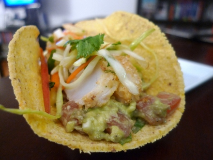 Baked Fish Tacos with Guacamole, Pico de Gallo and Apple Cider Slaw