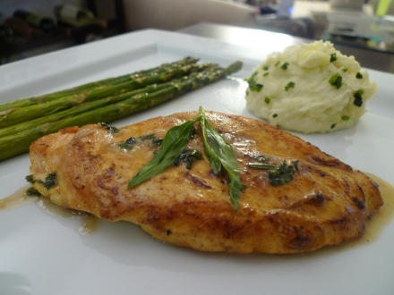 Sautéed Chicken Breasts with Tarragon, Roasted Asparagus, Pureé of Garlic Potatoes