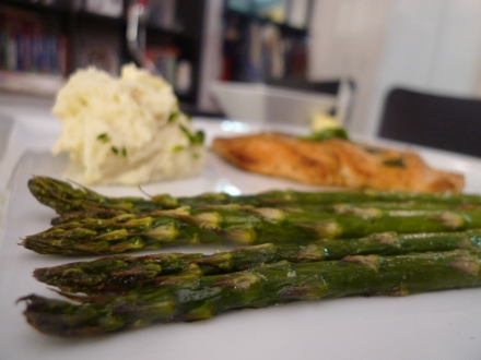 Roasted Asparagus (with Sauteed Chicken with Tarragon and Mashed Potatoes)