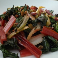 Rainbow Chard with Raisins, Pine Nuts, and Serrano Ham