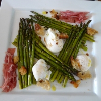 Roasted Asparagus with Poached Egg and Prosciutto