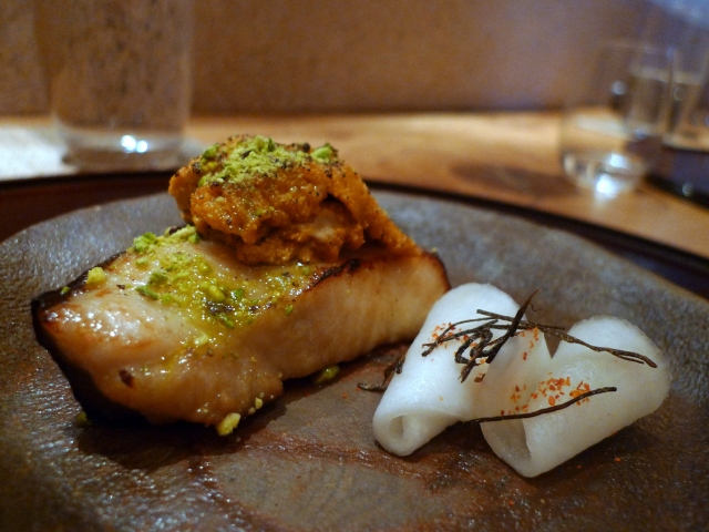 Grilled Black Cod with Seared Sea Urchin