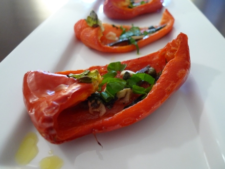 Baked Peppers with Anchovies