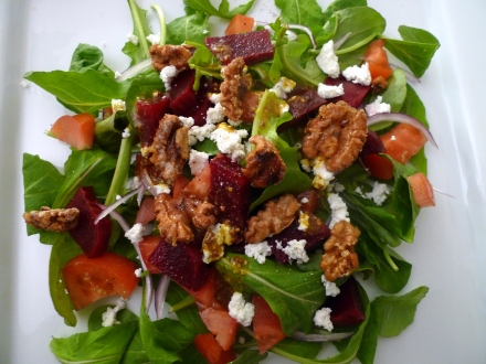 arugula salad with roasted beets, goat cheese, candied walnuts