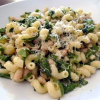 Cavatappi with Spinach, Beans and Asiago