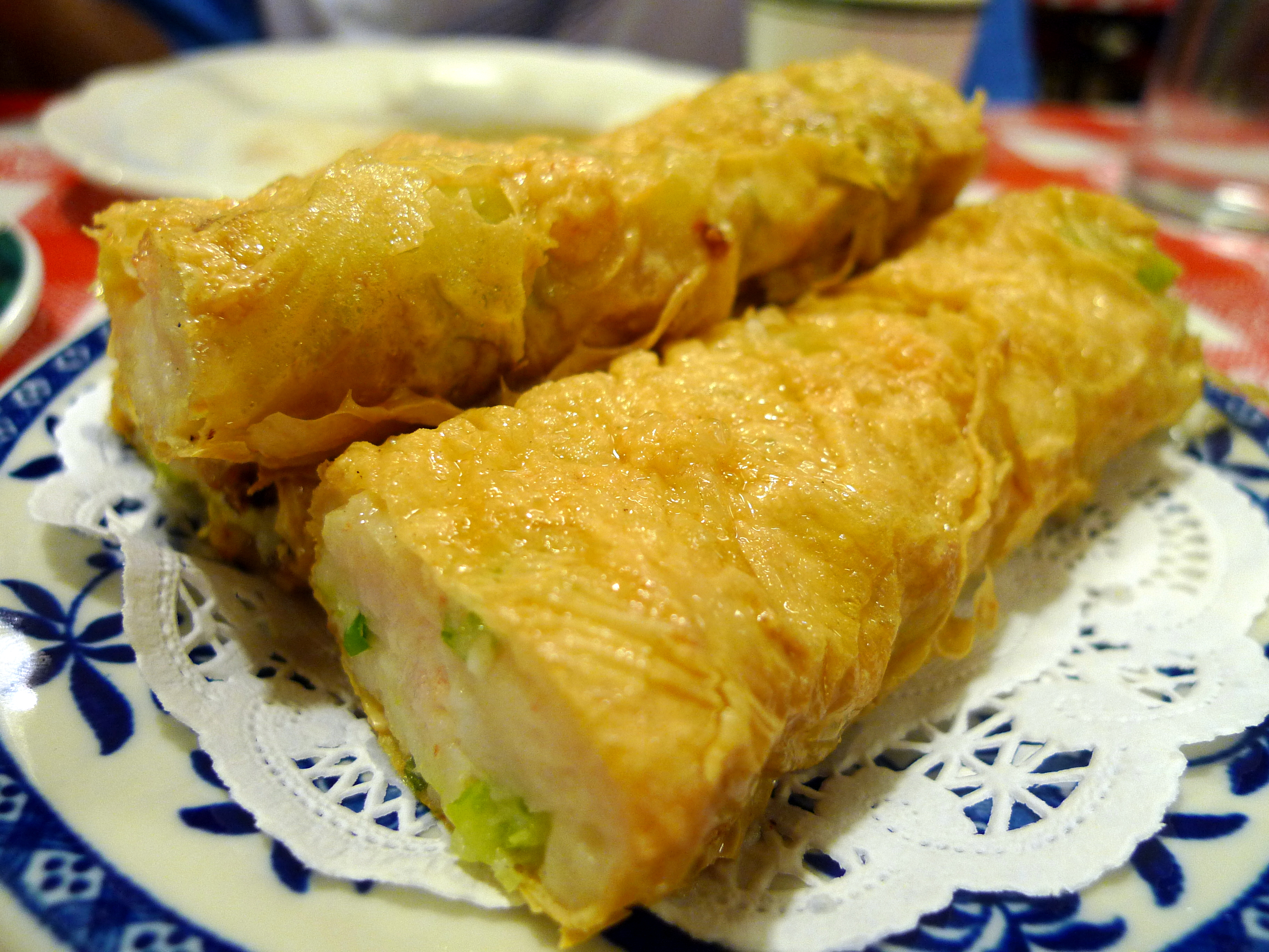 skin minced shrimp and celery wrapped with bean curd skin