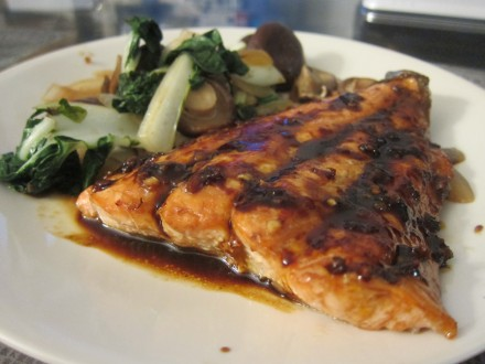 salmon served with vegetables