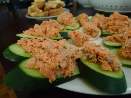 salmon rillettes on cucumber slices