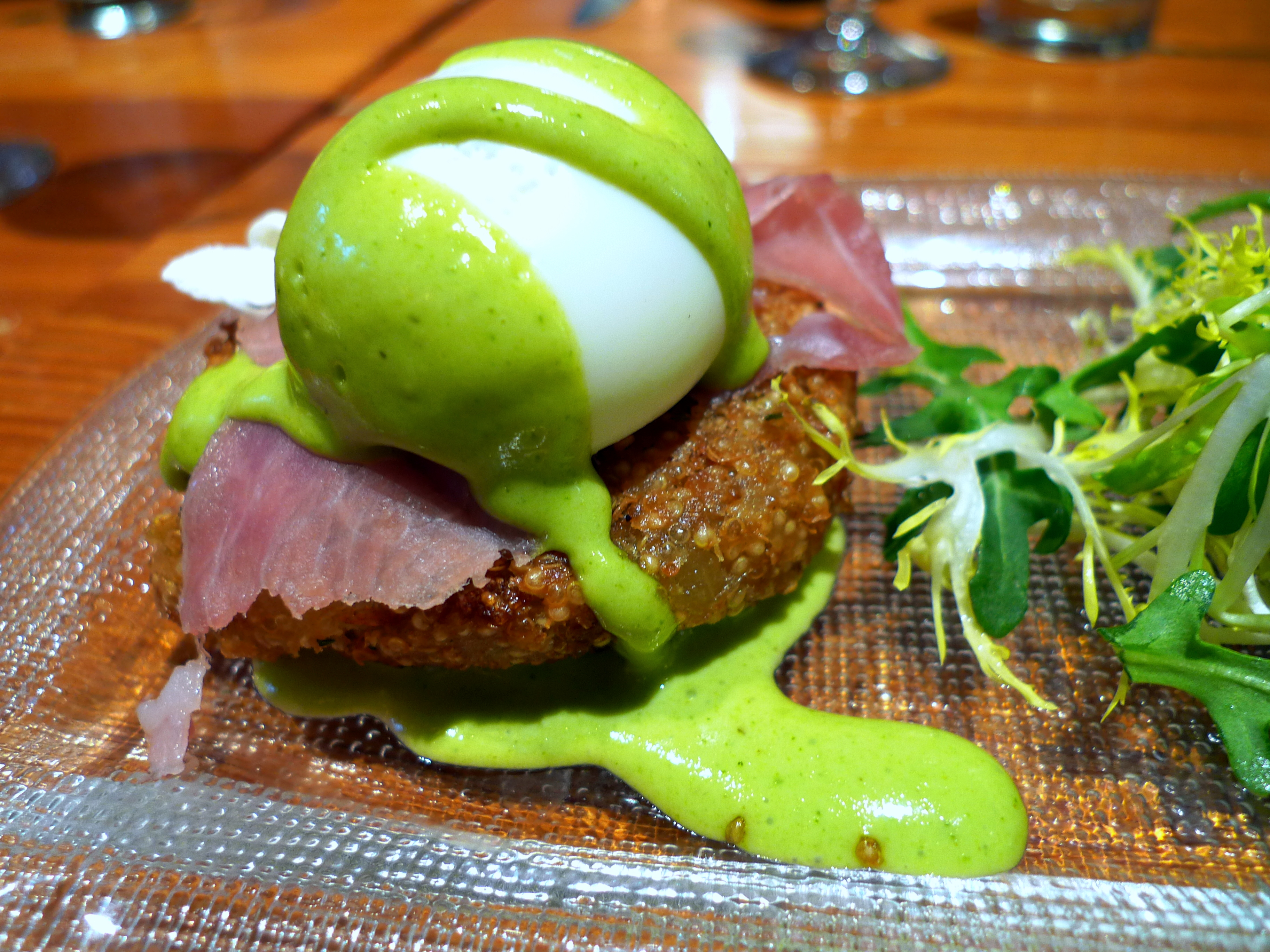 Humita: soft scrambled eggs with caña de cabra cheese, smoked salmon ...