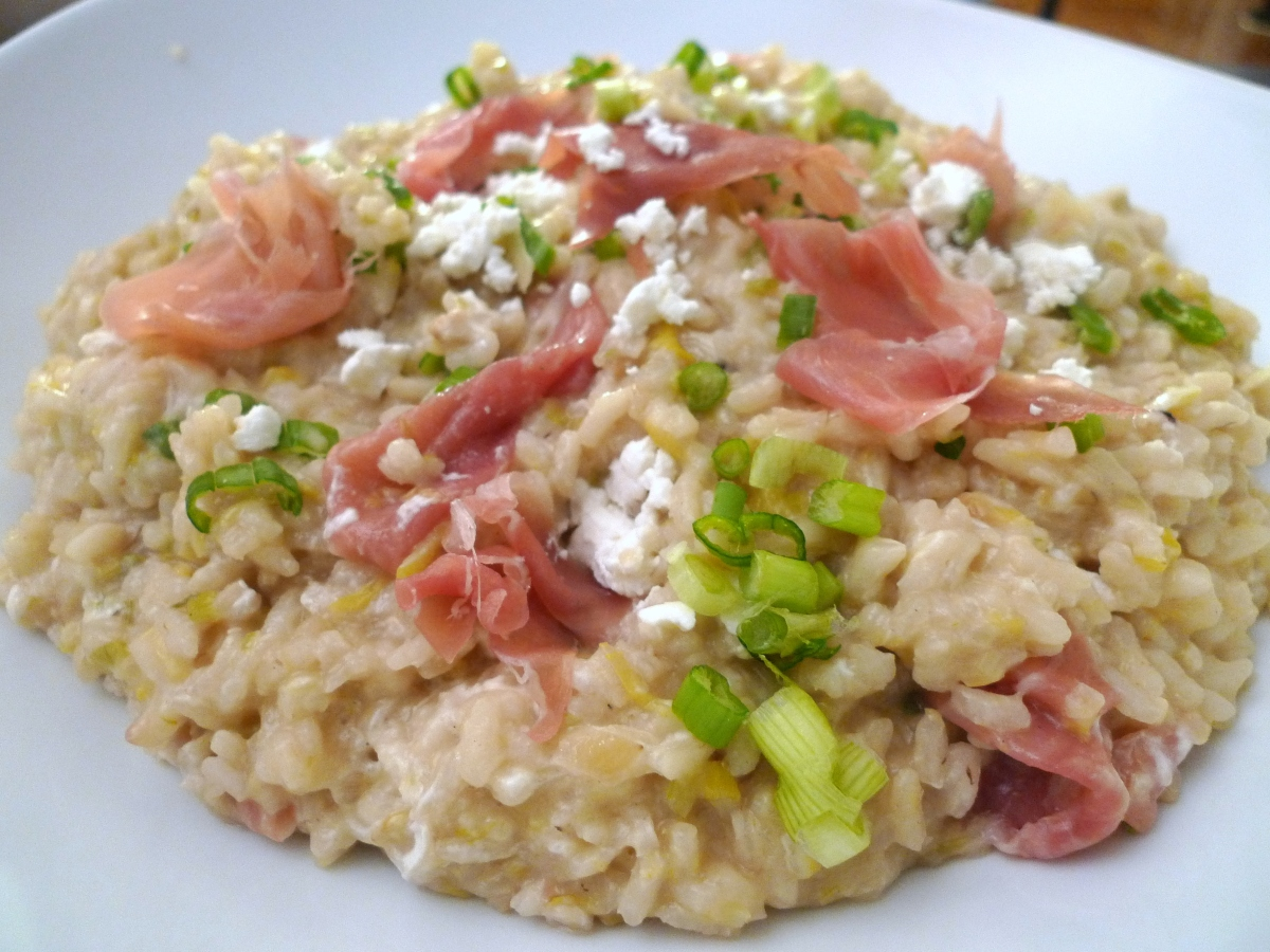 Risotto with Prosciutto, Leeks, and Goat Cheese