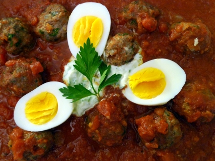 Kofta in Tumeric Tomato Sauce with Tzatziki and Boiled Eggs