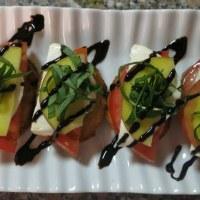 Peach, Tomato, and Mozzarella Crostini