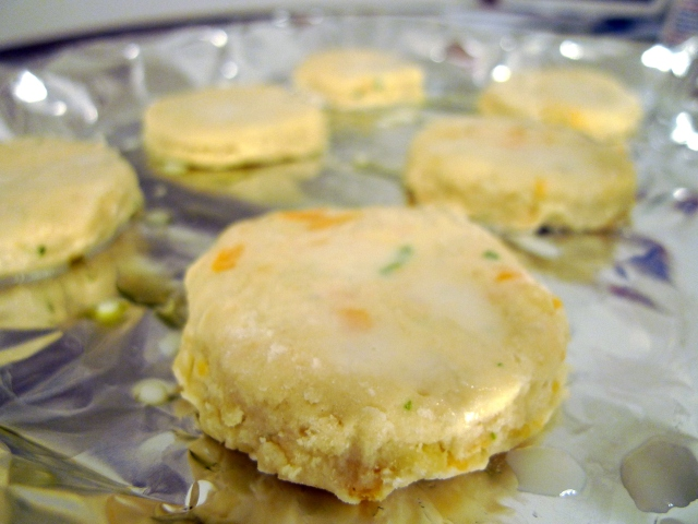 brush the biscuits with milk before baking