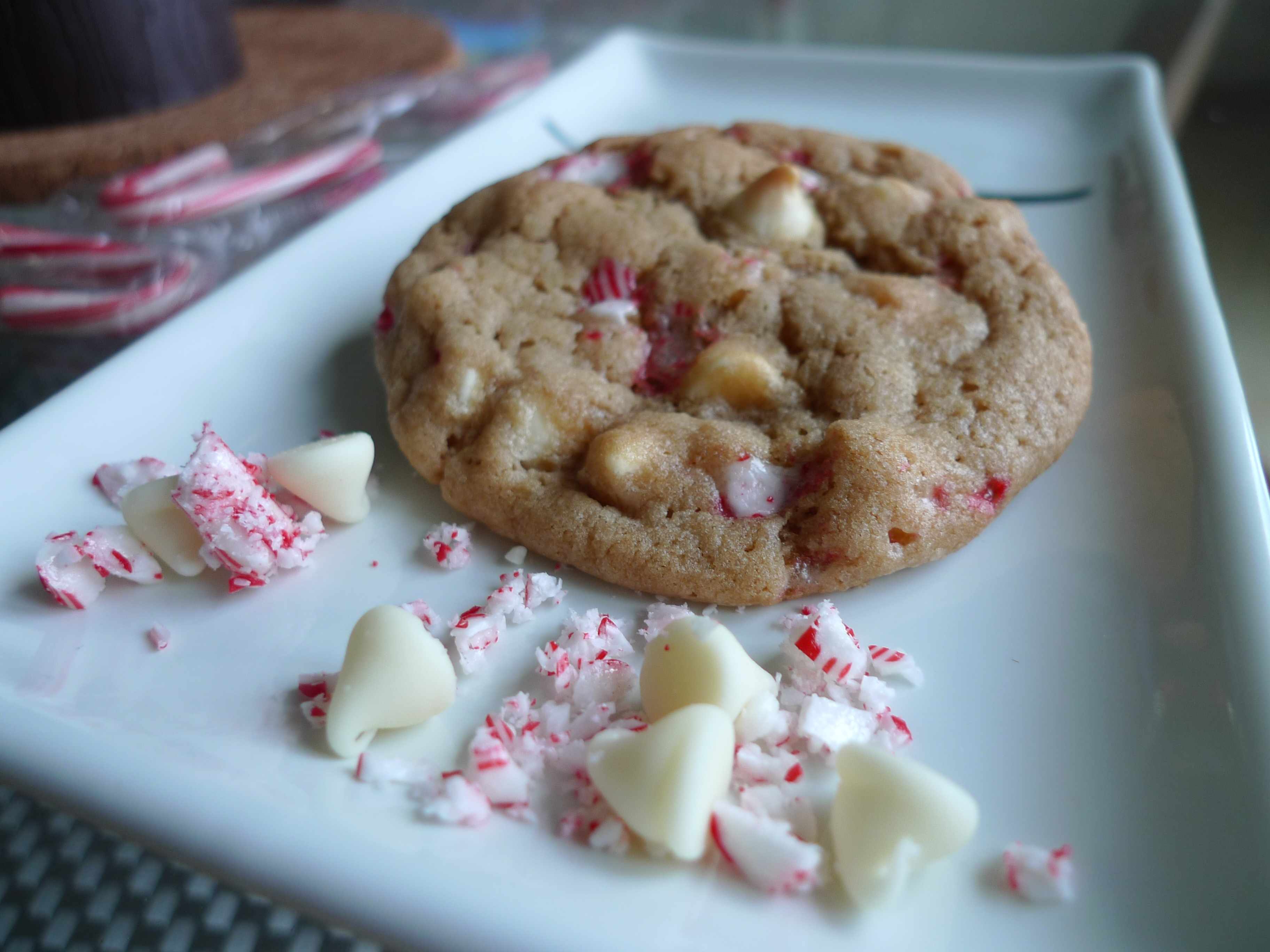 White Chocolate Chip and Candy Cane Cookies (from Closet Cooking )