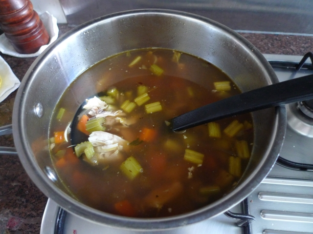 simmering the stock, vegetables, and chicken