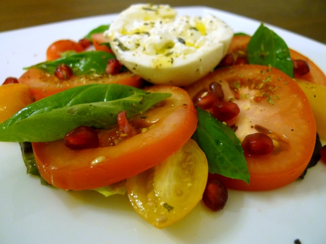 layer the tomatoes and basil