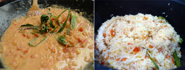 mix the rice well with the tomato mixture
