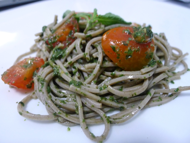 Soba with Thai Basil Pesto