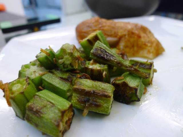 bright green and crisp okra