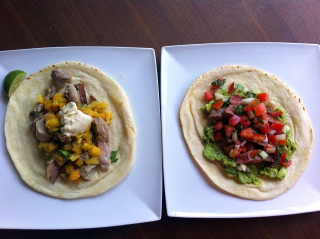 duck and steak tacos