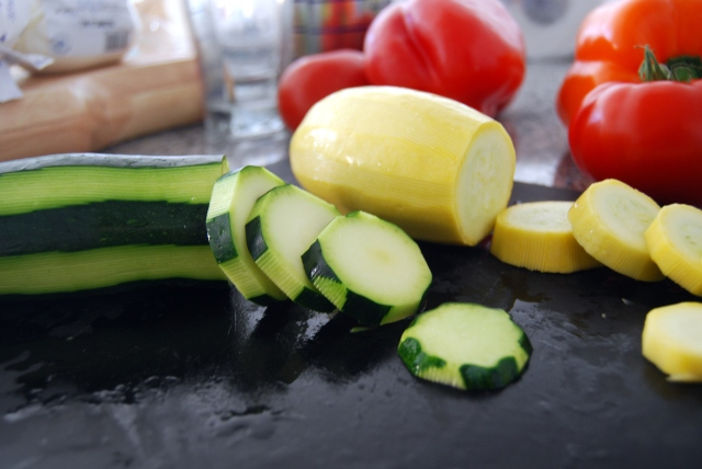 optional: peel the zucchini into stripes then slice