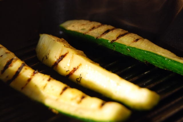 grill the zucchini evenly on all three sides