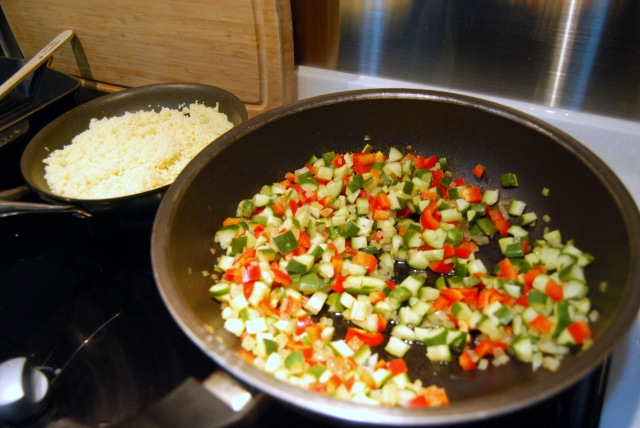saute the cucumber, peppers, onion, garlic