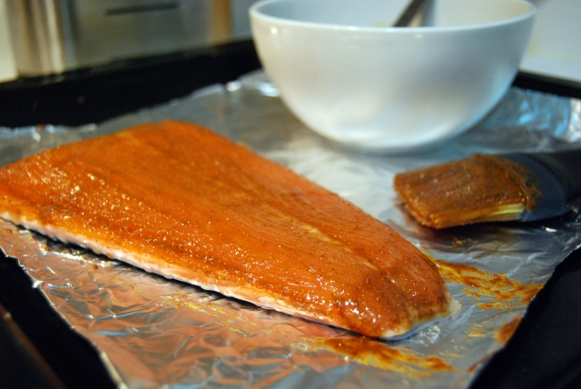 marinate the salmon with paprika, cumin, coriander