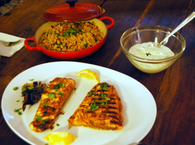 Moroccan Salmon with Tzatziki and Vegetable Couscous