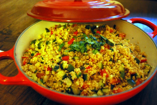 mix the veggies and couscous and top with cilantro