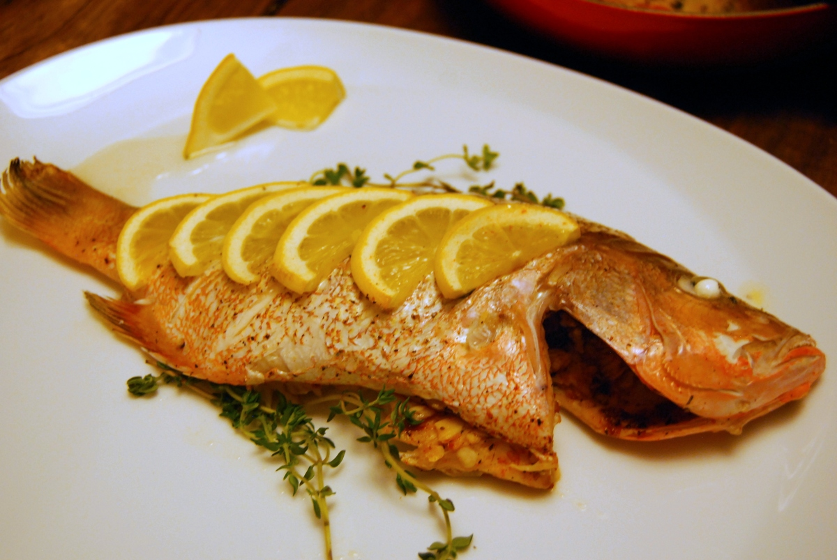 Whole roasted red snapper food comas for How to season fish for baking