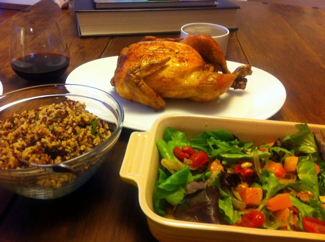 Super Meal: Roast Chicken, Red Rice & Quinoa Salad, Roasted Veggie Salad