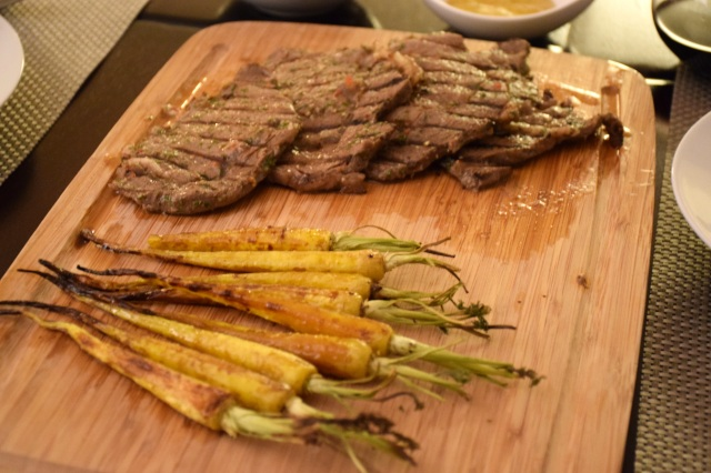 Chimichurri-Marinated Steaks with Basalmic Roasted Carrots