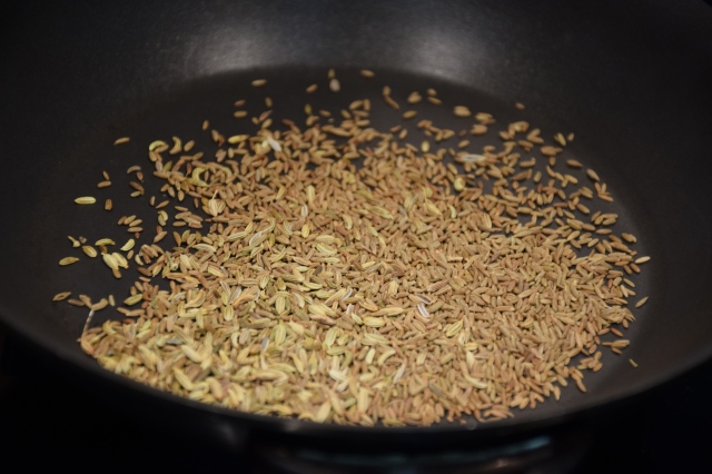 toast the fennel and cumin seeds until fragrant