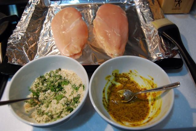 chicken ready for herb + mustard coating