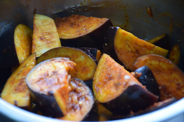 rub each aubergine wedge with the paprika marinade