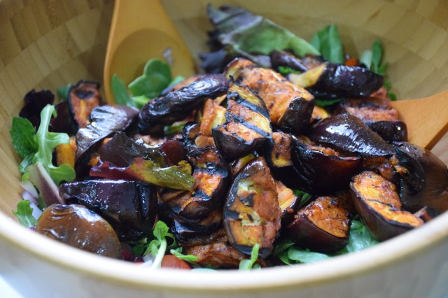 serve the warm aubergines over the salad