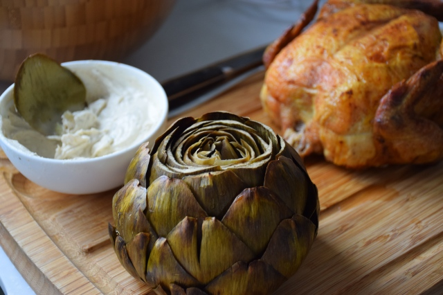 "whole roasted artichoke ""chips & dip"""