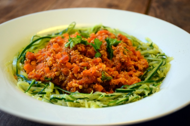 zucchini noodles bolognese